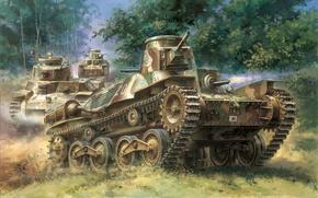 "Картинка война, арт, танк, японский, лёгкий, ""Ha-Go"", тип-95, Type 95"