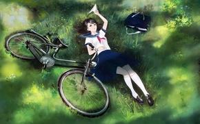 Картинка девушка, велосипед, аниме, арт, форма, школьница, сумка, самолетик, yong kit lam