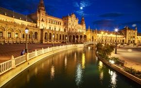 Картинка ночь, огни, Испания, дворец, Севилья, площадь Испании