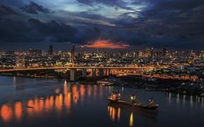 Картинка дорога, облака, закат, city, город, здания, вечер, Таиланд, Бангкок, Bangkok
