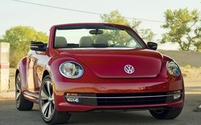 Картинка красный, Volkswagen, кабриолет, Beetle