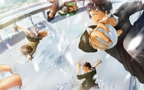 Картинка зима, девушки, аниме, арт, парни, школьники, senni, снежки