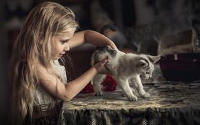 Картинка кошка, ребенок, девочка