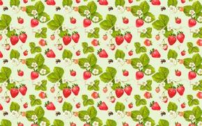 Обои ягоды, узор, пчелы, клубника