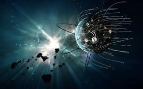 Обои EXODUS, спутник, вспышка