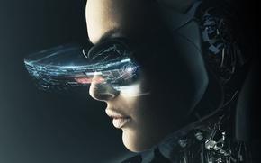 Картинка взгляд, девушка, фантастика, технологии, киборг, sci-fi