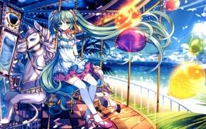 Картинка море, небо, девушка, солнце, облака, лошадь, чайки, арт, аттракцион, Hatsune Miku, Vocaloid, Вокалоид, воздушные шарики, ...