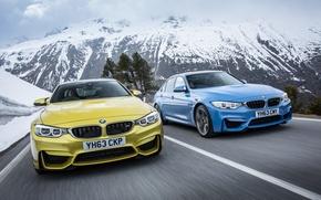 Картинка снег, синий, природа, гора, BMW, золотой, Бмв