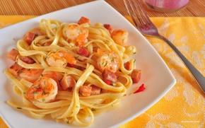 Обои рыба, укроп, тарелка, мясо, вилка, блюдо, креветки, Спагетти, лапша