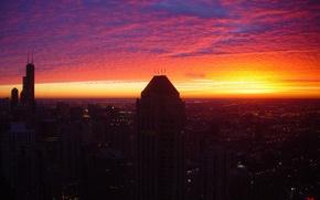 Картинка небо, закат, огни, небоскребы, вечер, USA, чикаго, Chicago, высотки, illinois