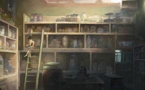 Картинка стол, женщина, лестница, банки, полки, шкафы, Лаборатория