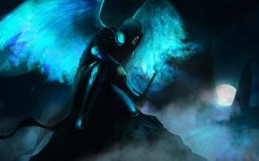Картинка ночь, сияние, крылья, меч, доспехи, Луна, капюшон, Демон, плащ