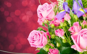 Обои ирисы, фон, бутоны, розы, букет