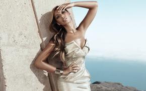 Картинка девушка, поза, рука, платье, певица, колонна, leona lewis