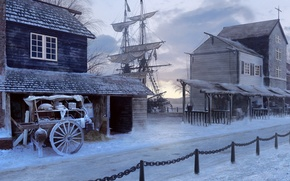 Картинка зима, дорога, корабль, дома, парусник, повозка
