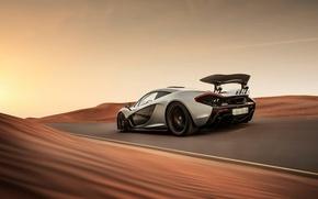 Картинка McLaren, Дорога, Пустыня, Скорость, Speed, Road, Supercar, Hypercar, Desert