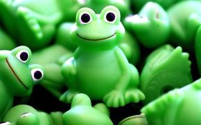 Обои зеленый, игрушка, лягушка