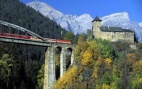 Картинка мост, горы, деревья, опора, замок, башня, поезд, небо, австрия, лес