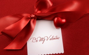 Картинка текст, надпись, ткань, бант, сердечко, день святого валентина, 14 февраля, valentine's day