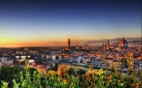 Картинка восход, здания, дома, Италия, панорама, Флоренция, Italy, bridge, panorama, sunrise, Florence, Italia, Firenze, река Арно, …