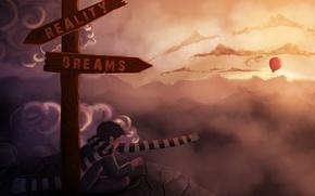 Обои выбор, арт, указатель, воздушный шарик, шарф, мечты, реальность, облака, скалы, камни