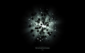 Обои свет, SyntheticCore, кубишки, взрыв