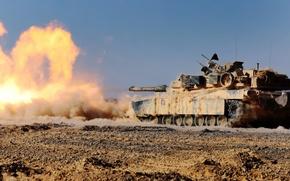 Картинка оружие, выстрел, танк, M1A1 Abrams