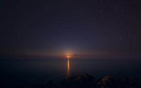 Картинка море, небо, звезды, ночь, вечер