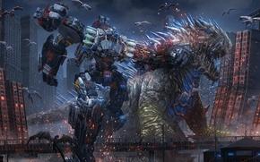 Картинка город, фантастика, робот, арт, монстры, битва, схватка, пришельцы, мегаполис, cyberpunk, гиганты