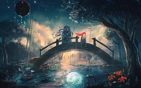 Картинка девушка, мост, река, дерево, лестница