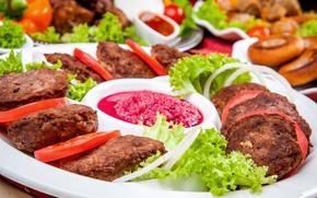 Обои meat, помидоры, соус, котлеты, мясо, sauce, tomato