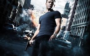 Картинка авария, машины, пистолет, улица, агент, постер, Мэтт Дэймон, Matt Damon, The Bourne Ultimatum, Ультиматум Борна, …