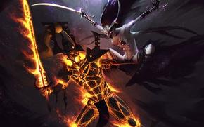 Картинка демон, аватар, хаос, схватка, Warhammer 40k, эльдары, хранитель секретов, keeper of secrets