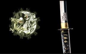Картинка тигр, дракон, катана, Япония, эмблема, черный фон, рукоятка, ин-янь