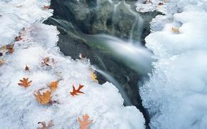 Обои вода, лед, зима