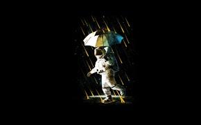 Картинка зонтик, дождь, костюм, астронавт