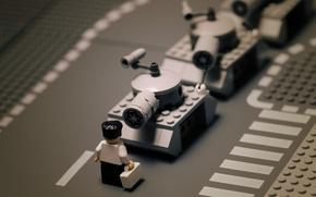 Обои дорога, черно-белый, человек, ч/б, танк, Лего, lego, танки