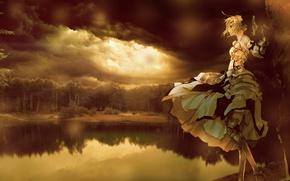 Картинка лес, небо, озеро, Девушка