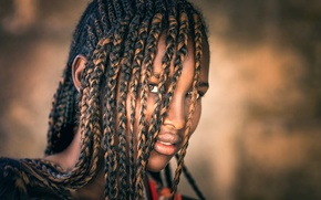 Картинка темнокожая девушка, косички, Joachim Bergauer, Hair