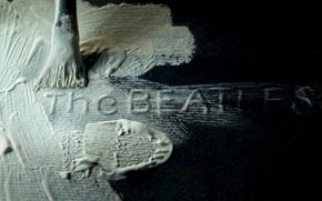 Картинка краска, The Beatles, кисть, чёрный фон, белая краска, White Album