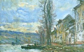 Обои Сена в Лавакорте. Зима, пейзаж, река, дома, лодка, картина, Клод Моне