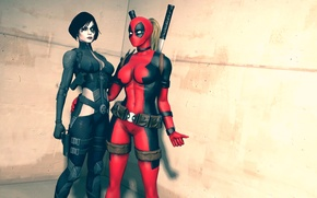 Обои Neena Thurman, Domino, костюмы, девушки, Marvel Comics, Lady Deadpool