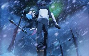 Картинка девушка, снег, арт, парень, драма, Субару, Re: Zero kara Hajimeru Isekai Seikatsu