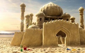 Обои замок, мечты, песок