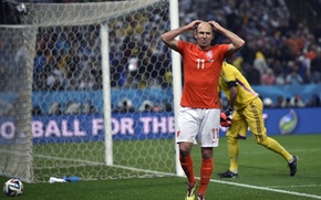 Картинка Спорт, Футбол, Нидерланды, Бразилия, Football, Sport, Футболист, Гол, Brasil, Игрок, Nederland, Arjen Robben, Арьен Роббен, …