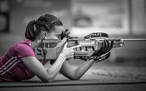Картинка девушка, стрельба, боке, Pink Sniper
