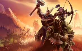 Картинка горы, оружие, человек, доспехи, долина, монстры, WoW, World of Warcraft, эльфийка, орк, окружены
