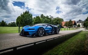 Обои бугатти, агрессивный, Vision, деревья, Gran Turismo, Bugatti, гиперкар, вид, машина, небо