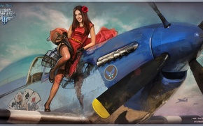 Картинка карты, девушка, самолет, роза, girl, aviation, авиа, MMO, Wargaming.net, World of Warplanes, WoWp, BigWorld, аркада, …