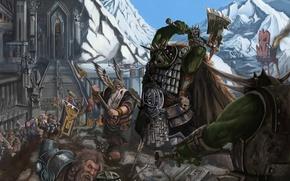 Картинка оружие, гора, ступени, крепость, Fantasy, warhammer, воины, статуи, орки, Battles, дварфы, секира, тор, attack on …